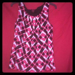 212 Collection sz M dark pink/blk/white geo ptrn